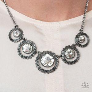 Edgy Gunmetal Necklace Earring Set NWT